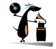 Amante de la música del perro Fotografía de archivo