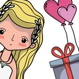 Amante de la novia con diseño del vestido y del peinado stock de ilustración