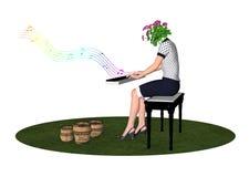 Amante de las flores que juega música para vaciar el ejemplo de los potes Imagenes de archivo