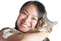 Amante del gatto Fotografie Stock