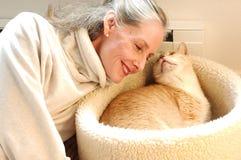 Amante del gatto Fotografia Stock