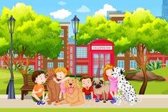 Amante del perro en el parque libre illustration
