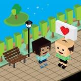 Amante delle coppie del geek nell'amore romanzesco illustrazione di stock