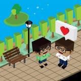 Amante delle coppie del geek nell'amore romanzesco illustrazione vettoriale