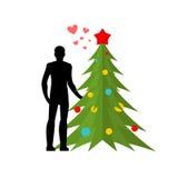 Amante do Natal Amor no ano novo Árvore do homem e de Natal amante Imagens de Stock Royalty Free
