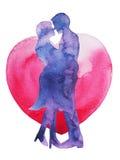 Amante feliz de los pares que se besa con el fondo del corazón, invitación de boda o ilustración del vector