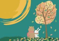 Amantes bajo la luna stock de ilustración
