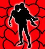 Amantes com corações Foto de Stock