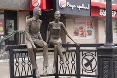 Amantes de la escultura de bronce Fotografía de archivo libre de regalías