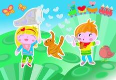Amantes de los niños de las tarjetas del día de San Valentín Imagenes de archivo