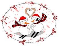 Amantes del día del ` s de la tarjeta del día de San Valentín en un círculo con las cintas rojas fotografía de archivo libre de regalías