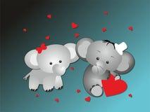 Amantes del elefante de la tarjeta del día de San Valentín Imagenes de archivo