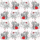 Amantes del elefante de la tarjeta del día de San Valentín, fondo inconsútil del modelo Foto de archivo libre de regalías