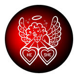 Amantes del tiroteo de la tarjeta del día de San Valentín Fotografía de archivo
