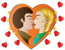 Amantes do coração na laranja Fotos de Stock Royalty Free