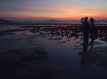 Amantes durante resplandor de la puesta del sol en Muddy Beach fotos de archivo
