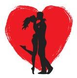 Amantes e coração Imagem de Stock