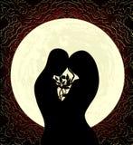 Amantes e lua Imagens de Stock