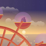 Amantes em Ferris Wheel Fotografia de Stock