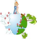Amantes em redondo o globo Imagem de Stock