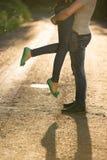 Amantes em um por do sol Imagens de Stock Royalty Free