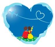 Amantes en corazón Fotografía de archivo libre de regalías