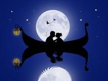 Amantes en góndola en el claro de luna stock de ilustración