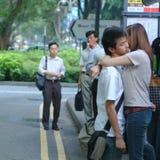 Amantes en la calle foto de archivo libre de regalías
