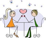 Amantes en un café stock de ilustración