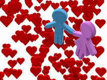 Amantes en una cama de corazones Fotografía de archivo