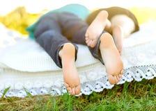 Amantes en una hierba foto de archivo