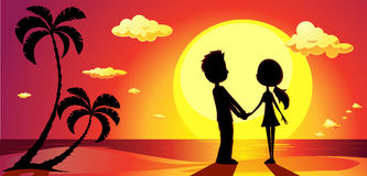 Amantes en una playa en la puesta del sol - vector Foto de archivo