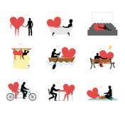 Amantes fijados de siluetas Hombre y corazón en cine amante libre illustration