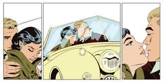 Amantes individuo y muchacha en un coche retro Fotografía de archivo libre de regalías