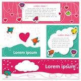 Amantes lindos del pájaro el día de la tarjeta del día de San Valentín s Fotografía de archivo