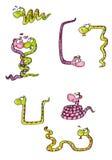 Amantes masculinos fêmeas da serpente da mascote Imagem de Stock Royalty Free