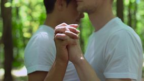 Amantes masculinos que se unen a las manos, fingeres que cruzan, fecha al aire libre en parque, afecto almacen de metraje de vídeo