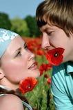 Amantes no campo com papoilas Imagem de Stock