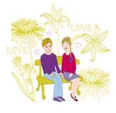 Amantes no jardim Fotos de Stock
