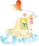 Amantes no navio de papel com corações Fotos de Stock Royalty Free