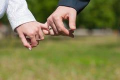 Amantes que llevan a cabo las manos el rosado Imagen de archivo libre de regalías