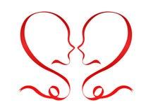 Amantes vermelhos do romance do coração do conceito romance do dia de Valentim Fotografia de Stock Royalty Free