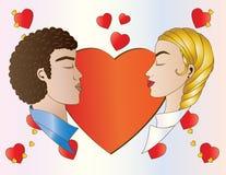 Amantes y corazones Imágenes de archivo libres de regalías