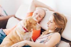 Amantes y su perro Imágenes de archivo libres de regalías