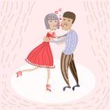 Amanti che ballano nel giorno del ` s del biglietto di S. Valentino Fotografia Stock