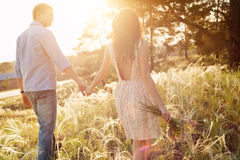 Amanti che camminano in un campo al sunse Immagine Stock
