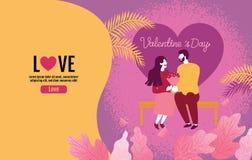 Amanti che tengono i fiori in un'atmosfera di amore, San Valentino, amore, illustrazione di vettore illustrazione vettoriale