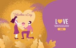 Amanti che tengono i fiori in un'atmosfera di amore, San Valentino, amore, illustrazione di vettore illustrazione di stock