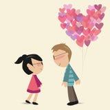Amanti con l'aerostato del cuore Fotografia Stock Libera da Diritti