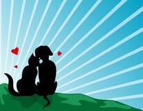 Amanti del gatto e del cane Immagini Stock